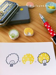 Mizutama. How to cut a stamp from an eraser and using colored pens to fill in colors for the ink for the stamps.