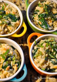 Creamy parmesan orzo with spinach. Mmmm.... craving some comfort foods on this rainy day!