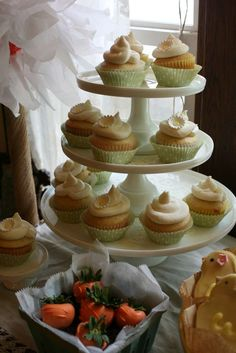 Pretty cupcakes at a baby shower party! See more party planning ideas at CatchMyParty.com!