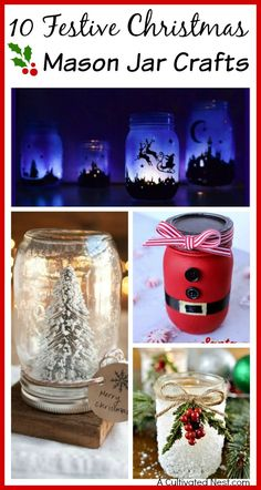 Mason Jar Crafts are fun and easy to make! So if you're looking to create some inexpensive Christmas decor (or gifts), check out these 10 Festive Christmas Mason Jar Crafts for inspiration!
