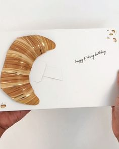 A flaky pastry is presented with a bold birthday wish. Featuring gold foil & a translucent vellum envelope with a scalloped edge flap. Pop Up Christmas Cards, Tarjetas Pop Up, Vellum Envelope, Paper Art, Paper Crafts, Pop Up Art, Up Book, Flower Aesthetic, Planner Pages