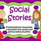 This social skill unit includes 12 social stories and 9 visual charts to use in your classroom. These are great for children with autism and special needs.