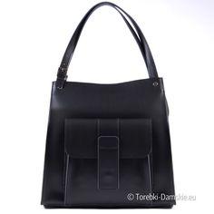 Włoska, wykonana w całości z NATURALNEJ skóry w kolorze czarnym pojemna torebka na ramię w nowoczesnym designie. Zobacz koniecznie! http://torebki-damskie.eu/skorzane/1367-wloska-czarna-torba-na-ramie-z-kieszonka-z-przodu.html