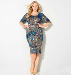 Try a bold twist on a classic pattern like our plus size Paisley Scroll Sheath…
