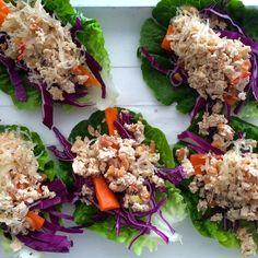 Lettuce Wraps with Orange Salsa and Peanut Chicken