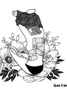 52 Trendy flowers illustration black and white simple Doodle Art, Henn Kim, Sad Art, Black And White Illustration, Art Drawings Sketches, Easy Drawings, Art Sketchbook, Aesthetic Art, Aesthetic Drawing
