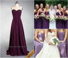 strapless purple bridesmaid dresses