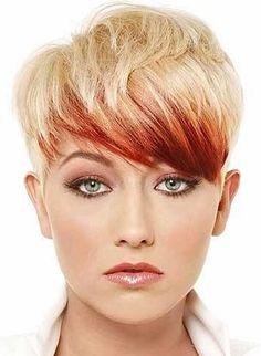 pixie frizurák, rövid frizurák 2015 - szőke pixie vörös melírrel