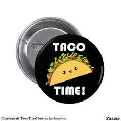 A cute button featuring a yummy taco with ground beef, lettuce, tomatoes, and…