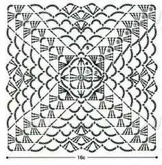 von Knitting and crochet lace Crochet Motif Patterns, Crochet Mandala, Crochet Diagram, Crochet Chart, Crochet Doilies, Crochet Wool, Crochet Blocks, Crochet Squares, Crochet Granny