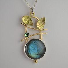 Labradorite Leaf Pendant - Artisan Labradorite Necklace - Art Jewelry