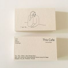 A minimalist business card design by Yu Fan Ye (who also known as 'Fan') for This Café, a coffee shop located in Hsinchu, Taiwan. design This Cafe Business Card Café Branding, Branding Design, Restaurant Branding, Stationery Design, Coffee Shop Branding, Corporate Branding, Minimalist Business Cards, Cool Business Cards, Business Card Design Inspiration