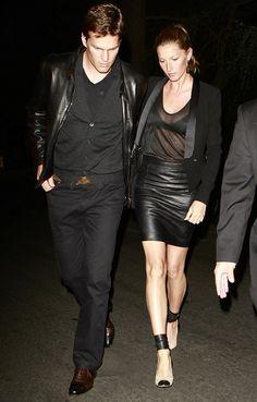 la modella mafia Date Night Chic - Gisele Bundchen in a leather skirt, sheer tee, blazer and Isabel Marant pumps