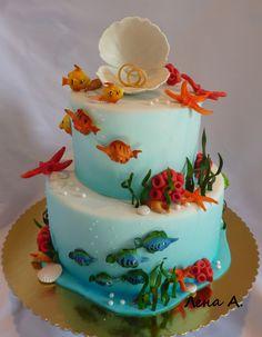under the sea fish cake Cake Icing, Fondant Cakes, Cupcake Cakes, Cupcakes, Ocean Cakes, Beach Cakes, Round Wedding Cakes, Elegant Wedding Cakes, Boat Cake