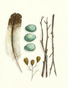 Print of an original watercolor painting, 'Collection No.18' #diseño #ilustración #láminas