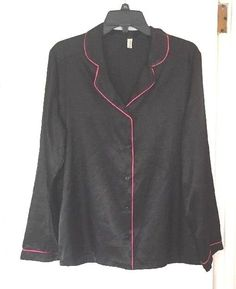 George Night Shirt Black Pink Size XL 16-18 Womens EUC Button Front Long Sleeve #George