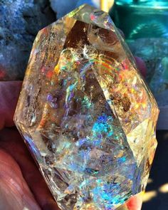 """""""This photo was taken by a fellow gem enthusiast of an amazing Herkimer Diamond (Quartz) with a special spectrum light. Looks like a small universe inside!"""" credit:International Gem Society Visit Amazing Geologist for more. Diamond Quartz, Herkimer Diamond, Quartz Crystal, Minerals And Gemstones, Rocks And Minerals, Crystal Magic, Beautiful Rocks, Mineral Stone, Rocks And Gems"""