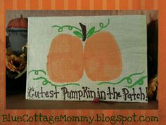 Halloween craft pumpkin butt print baby project BlueCottageMommy Baby Pumpkin Pictures, Halloween Baby Pictures, Baby First Halloween, Halloween Crafts For Kids, Baby In Pumpkin, Holiday Crafts, Pumpkin Canvas Painting, Fall Arts And Crafts, Baby Canvas