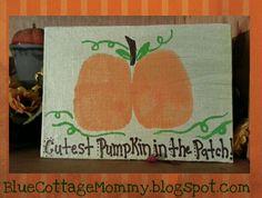 Halloween craft pumpkin butt print baby project BlueCottageMommy