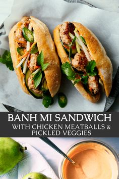 Vegetarian Recipes, Cooking Recipes, Healthy Recipes, Vietnamese Sandwich, Sandwiches, Pickled Carrots, Chicken Meatballs, Incredible Recipes, It Goes On