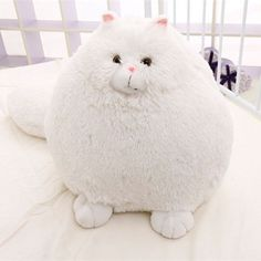 Fluffy Soft White Persian Cat With Big Puffy Tail Plush Stuffed Kitty Animal Toy Gift For Kids 35cm Sitting Height Ball Shaped