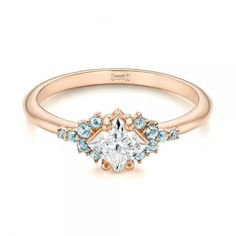 Custom Rose Gold Aquamarine and Diamond Engagement Ring | Joseph Jewelry | Bellevue | Seattle | Online | Design Your Own Engagement Ring