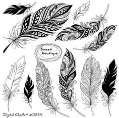 Digital feathers Feathers Digital Clipart by MSweetboutique Wicked Tattoos, New Tattoos, Tribal Feather, Silhouette Tattoos, Vintage Silhouette, Feather Tattoos, Get A Tattoo, Zentangle, Feathers
