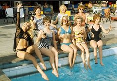 The ladies from Coronation Street on holiday in Majorca in the Checkout that Barbara Knox's swim suit, now known in the swim suit industry as 'A Barbara Knox. Emily Bishop, Betty Driver, Barbara Knox, Coronation Street Blog, Anne Kirkbride, Street Girl, Black Two Piece, Majorca