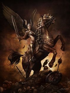 """Valkyrie   In Norse mythology, a valkyrie (from Old Norse valkyrja """"chooser of the slain"""") is one of a host of female figures who decide who dies and wins in battle. Selecting among half of those who die in battle (the other half go to the goddess Freyja's afterlife field Fólkvangr), the valkyries bring their chosen to the afterlife hall of the slain, Valhalla, ruled over by the god Odin."""