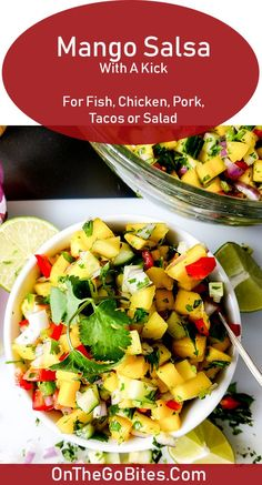 Easy, fresh mango salsa recipe is a healthy dip for parties and a great condiment for fish tacos, salmon, tilapia, shrimp, mahi mahi, chicken, steak or pork, even a salad.  This is the best homemade healthy mango salsa recipe with slight heat from the jalapeno and cilantro with the cooling qualities of mango and cucumber.  Gluten free.  OnTheGoBites.Com #mango, #fishtacos, #salmontopper