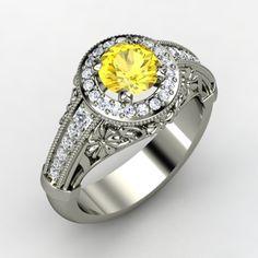 Round Yellow Sapphire Palladium Ring with Diamond   Primrose Ring   Gemvara