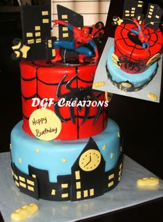 Spiderman cake for two brothers. Vanilla and chocolate with a Chantilly cream and fresh strawberries. www.facebook.com/dgfcreations