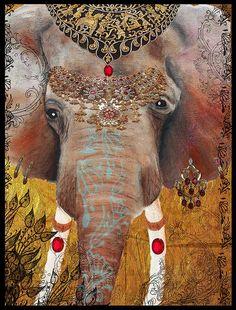 Indian Elephant of Jaipur, Gilded elephant, art, modern,india,henna,jewels,festivals,mixed media art,ganesha,ganesh, Tara Richelle.