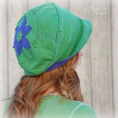 Slouchy Beanie Hat in Green and Purple от GreenTrunkDesigns