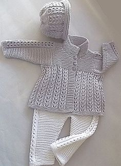 Quick knit baby jacket, hat and matching pants - super easy knit and great for the beginner