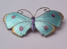 SILVER AND ENAMEL BUTTERFLY BROOCH JA&S JOHN ATKINS AND SON