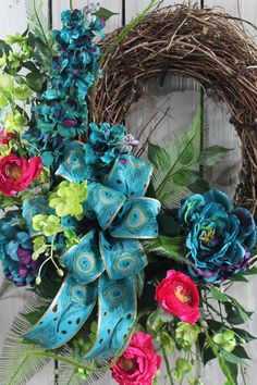 Teal Front Door Wreath Country Wreath Spring by FloralsFromHome