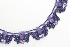 Fancy Night Necklace Beading Pattern by Sandra D. Halpenny at Bead-Patterns.com