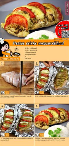 Hähnchenbrust mit Pesto und Mozzarella Tasty chicken breast with pesto and mozzarella - our recipe with video makes cooking a breeze. The chicken breast with pesto and mozzarella video is easy to find Healthy Chicken Recipes, Pasta Recipes, Healthy Dinner Recipes, Crockpot Recipes, Mozzarella Chicken, Le Diner, Orange Recipes, Food And Drink, Stuffed Peppers