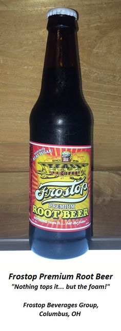 ROOT BEER REVIEW, Frostop Premium Root Beer: Mildly rooty aroma.  Impressive head of foam at first pour, settles to a nice ring of suds.  Initial flavor is almost too sweet, but decently rooty.  Slightly medicinal, with a sweet licorice note in the aftertaste. Not as creamy as advertised.