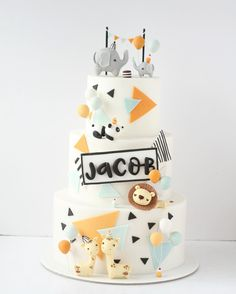 Elephant Birthday Cakes, Half Birthday Cakes, Baby Boy Birthday Cake, Baby Boy Cakes, Torta Baby Shower, Cake Shop Design, Lion Cakes, Safari Cakes, Foundant