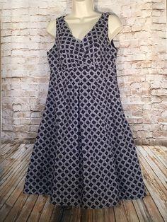 8 LANDS' END Navy Print Sleeveless Dress
