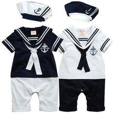 Baby Kids Toddler Boys Girls Navy Sailor Marine Onesie Bodysuit Romper One-Piece