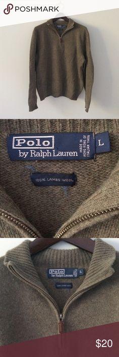 RALPH LAUREN Olive green lambs wool zip Sweater Lambswool zip neck Sweater. Has some fuzzies that can easily be removed. Polo by Ralph Lauren Sweaters Zip Up