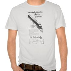 Erie Railroad 1948 New Diesel Locomotives Shirts made by Zazzle Apparel #stanrail - $34.95 -SOLD-Worn to perfection, this shirt is made by Alternative Apparel. The destroyed tee has grinding at the sleeves, collar and bottom. Pre-washed so there's no shrinkage. White/Black: 100% cotton. Colors: heathered 90/10 cotton-poly blend. #Vintage #ErieRailroad #DieselLocomotives  #Trains #DestroyedTShirt  #stanrails_store