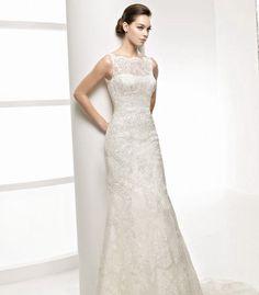 Sheath Bateau Long Lace Wedding Dress. This neckline for Jen.