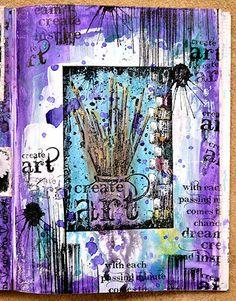 Art Journal page by Belinda Spencer using Darkroom Door Create Art Collage Stamp, Artist, Paint Splats and Brushstrokes Rubber Stamp Sets.