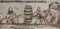 Crescent tipped arrows being made for transportation in barrel. Romance of Alexander MS Bodl 264 by the Flemish illuminator Jehan de Grise and his workshop 1338-44 123