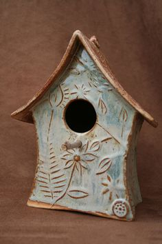 pottery bird houses | Ceramic Pottery Bird House Birdhouse by CaliforniaSoulshine