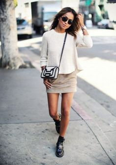 mini skirt + casual outfit